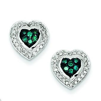Sterling Silver Gift Boxed Cut-out sides Rhodium-plated Blue Diamond Small Heart Post Earrings