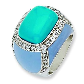 Sterling Silver Enameled Simulated Turquoise and Cubic Zirconia Ring - Ring Size: 6 to 8