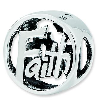 Sterling Silver Polished Antique finish Reflections Faith Bead Charm