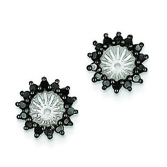 Sterling Silver Black Diamond Earrings Jacket - .49 dwt
