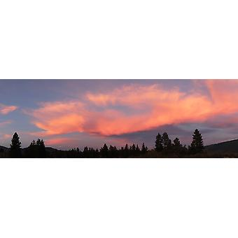 Colorful clouds over the Northern California sky at dusk USA Poster Print