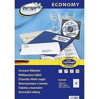 Europe 100 ELA038 Labels (A4) 105 x 42.3 mm Paper White 1400 pc(s) Permanent All-purpose labels Inkjet, Laser, Copier