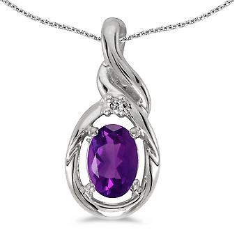10k White Gold Oval Amethyst And Diamond Pendant with 16