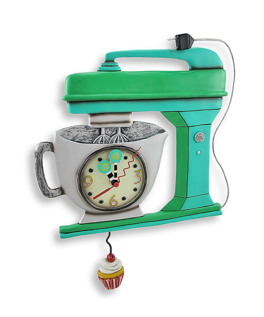Allen Designs vert Vintage Kitchen Mixer Wall Clock with Cupcake Pendulum