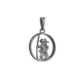 Silver 25mm round cut out St Christopher Pendant with bail