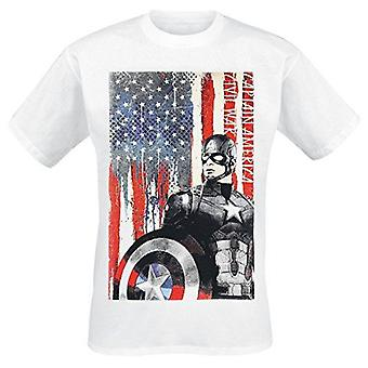 MARVEL COMICS Captain America: Civl War Stars and Stripes T-Shirt XL - White