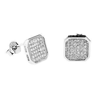 925 Silver MICRO PAVE earrings - FLATTENED 10 mm