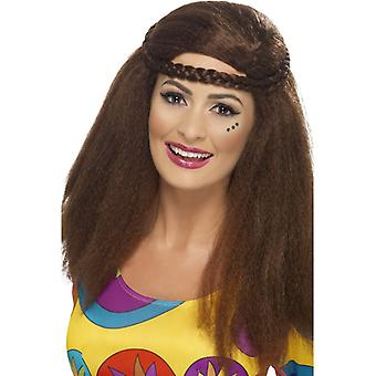 Hippie chick long Afro Braun with braided hair band