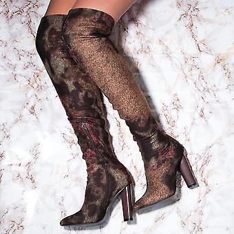 Spylovebuy VAGAS Pointed Toe Block Heel Thigh Boots - Floral Print Suede Style