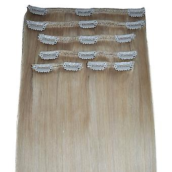 #60/22 - Clip-in Hair Extensions - Full Head - Natural Blonde with Barbie Blonde Highlights