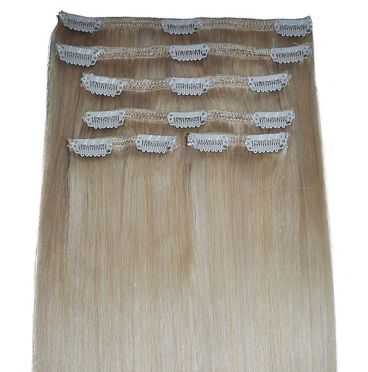 20 Zoll, vollen Kopf, 6pcs, seidig weiche Clip-in Hair Extensions - 100 % Remy, Triple Schuß, menschliches Haar, (20