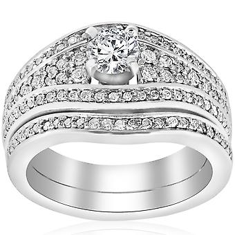 1 1/10ct Diamond Pave Wide Engagement Wedding Ring Set 14K White Gold