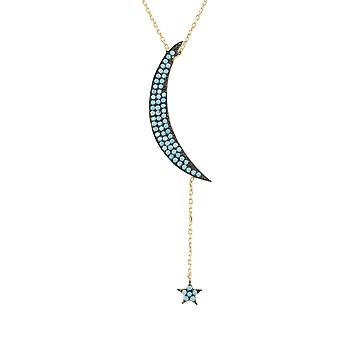 Latelita Pendant Necklace Moon Star Gold Blue Turquoise Sterling Silver CZ