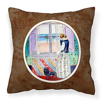 Lady with her Schipperke Fabric Decorative Pillow