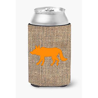 Wolf Burlap and Orange Can or Bottle Beverage Insulator Hugger
