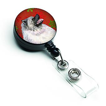 Keeshond Red and Green Snowflakes Holiday Christmas Retractable Badge Reel