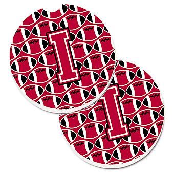 Letter I Football Crimson and White Set of 2 Cup Holder Car Coasters