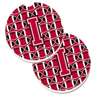Bokstaven I fotboll Crimson och vit uppsättning 2 kopp innehavaren bil glasunderlägg