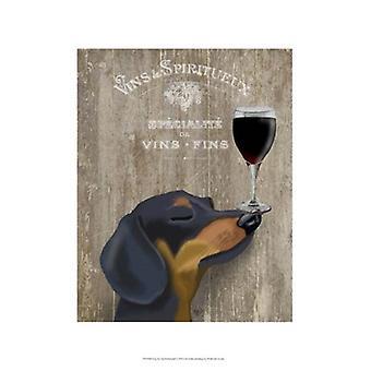 Dog Au Vin Dachshund Poster Print by Fab Funky (13 x 19)