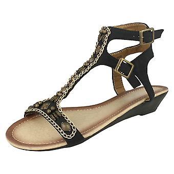 Ladies Spot On Slip-On Sandals F1868
