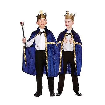 Deluxe Blue Velvet Robe & Crown Unisex Childrens Fancy Dress Costume
