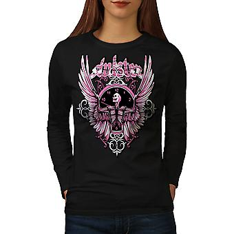 Total Mortal Skull Women BlackLong Sleeve T-shirt | Wellcoda
