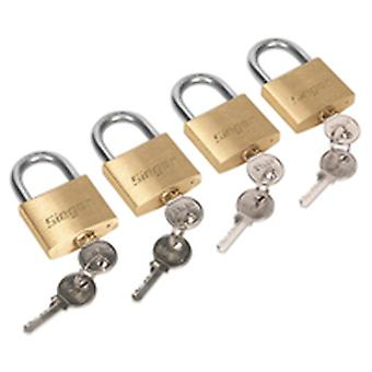 Sealey S0992 Brass Body Padlock With Brass Cylinder 40Mm Key Alike Pack Of 4