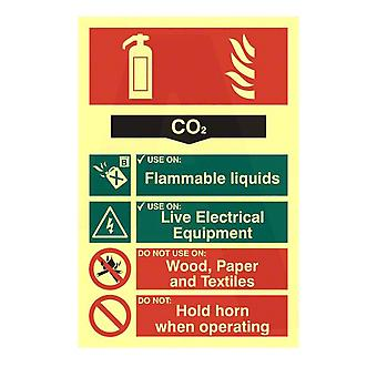 ASEC CO2 Fire Extinguisher 200mm X 300mm PVC Self Adhesive Photo Luminescent Sign