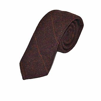 Luxe mahoniehouten Herringbone Check Tie, Tweed