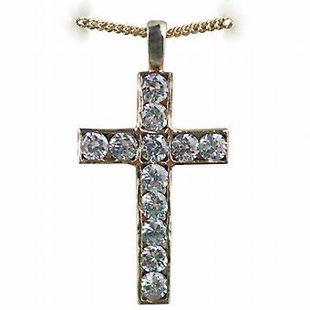 9ct goud 34x21mm apostel van Cross set met 12 Cubic Zirconia met een curb Chain 16 inch alleen geschikt voor kinderen