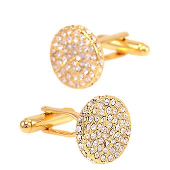 Beautiful Round Gold Cufflinks With Encrusted Stones Perfect For All Special Occasions