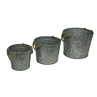 Set of 3 Graduated Size Round Galvanized Metal Planters with Jute Rope Handles