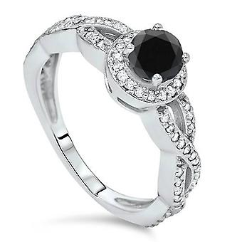 7/8ct Treated Black & White Diamond Infinity Engagement Ring 14K White Gold