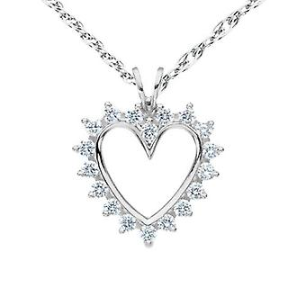 1/2Ct Diamond 14K Solid Gold 1 Inch Heart Pendant Necklace