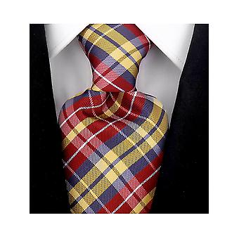Scott Allan Mens Plaid Necktie - Red and Yellow Mens Tie