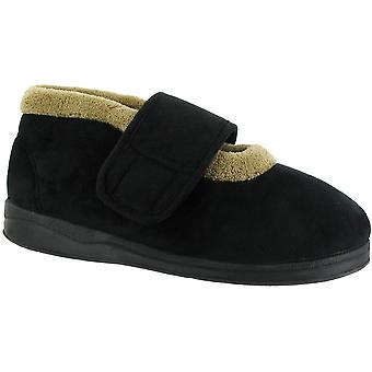 Mirak Ladies Jeane Touch Fastening Fluffy Collar Bootie Slipper Black