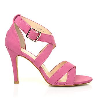 SOPHIE Rose Pink Faux Suede Strappy High Heel Sandals