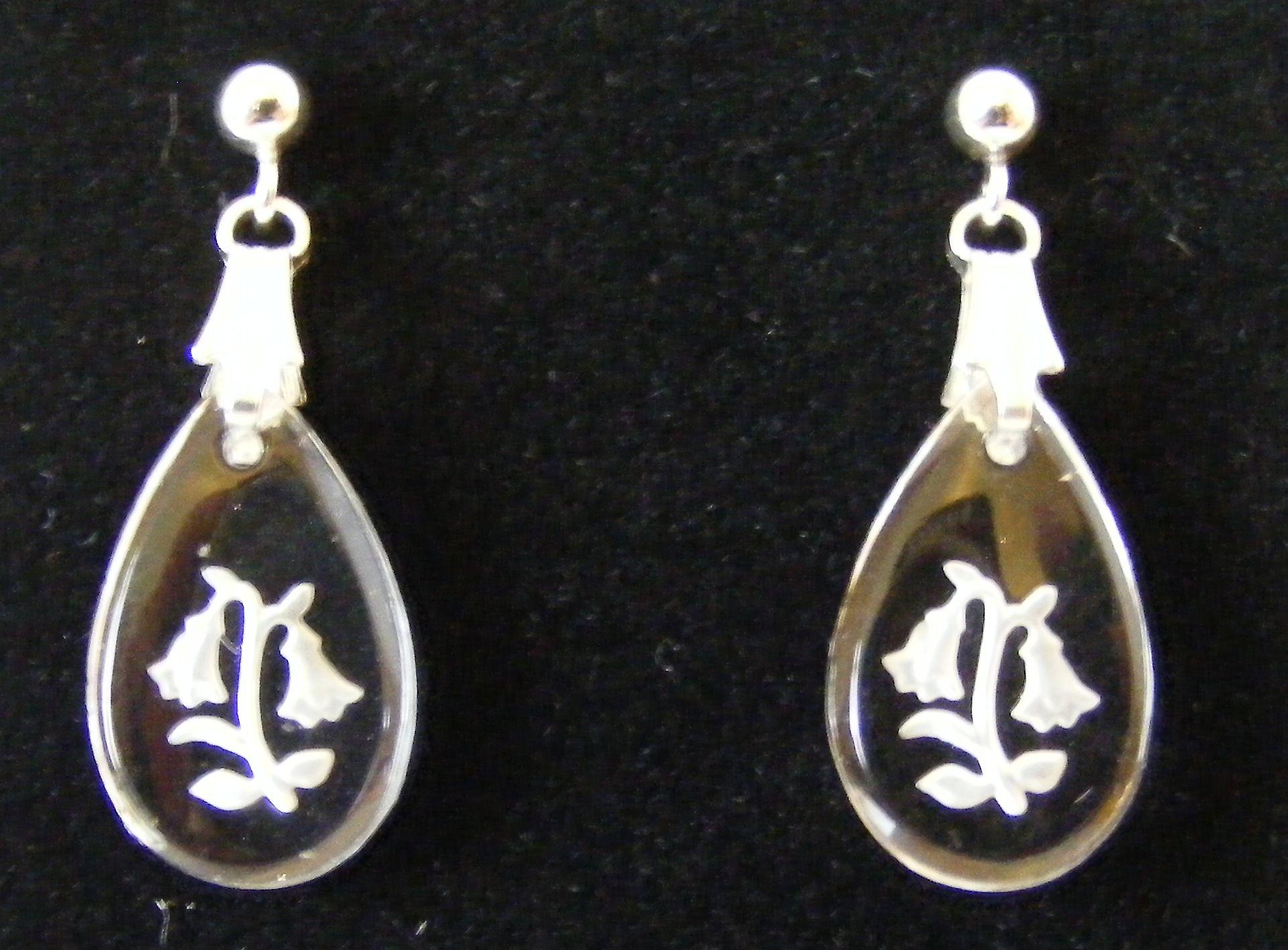 Frosted Bluebell Teardrop Crystal Earrings