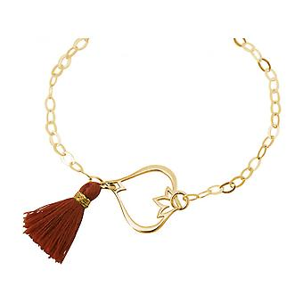 Maroon - YOGA women - bracelet - 925 Silver - gold plated - Lotus Flower - tassel-