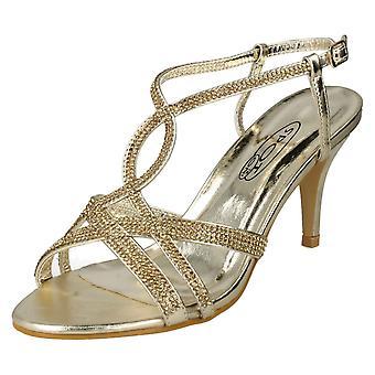 Ladies Spot On Diamante Sandals F10838 - Gold Synthetic - UK Size 8 - EU Size 41 - US Size 10