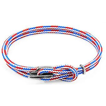 Anchor and Crew Padstow Silver and Rope Bracelet - Red/White/Blue