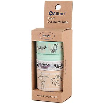 Decorative Washi Tape Assorted Widths 5M 4/Pkg-Embossed Ballet