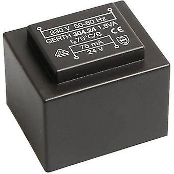 PCB mount transformer 1 x 230 V 1 x 6 V AC 1.80 VA 300 mA PT300601 Gerth