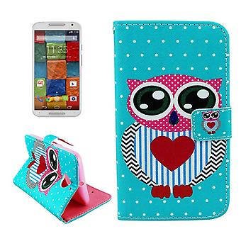 Cell phone cover case for Motorola phone Moto X (2nd Gen.) Big OWL with a heart motif