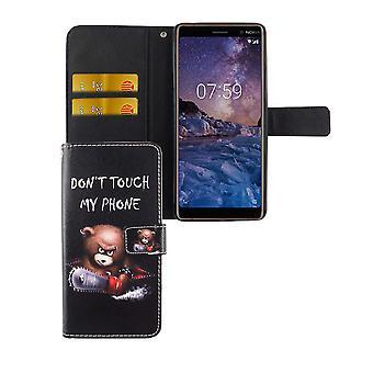 Handyhülle Tasche für Handy Nokia 7 Plus Schriftzug Bär mit Kettensäge