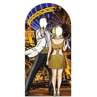 Black and Gold Secret Agent Stand - in Cardboard Cutout