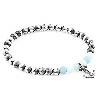 Anchor & Crew Turquoise Amazonite Keel Silver and Stone Bracelet