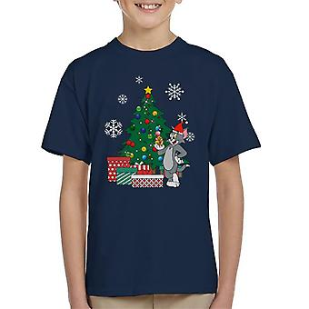 Tom And Jerry Around The Christmas Tree Kid's T-Shirt