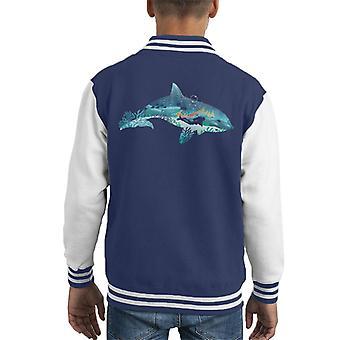 Dolphin Scuba Diver Silhouette Kid's Varsity Jacket