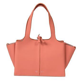 Celine Tri-Fold Shoulder Bag   Peach Grained Calfskin Leather